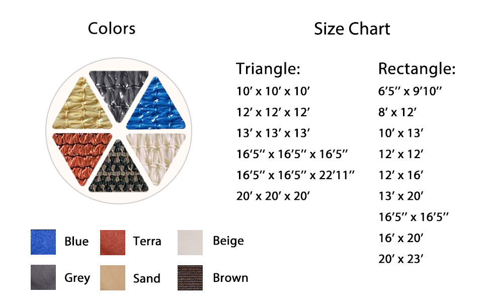 triangle shade sail-multi size and color option-sun shade sail-solar shade-patio shade sail-outdoor