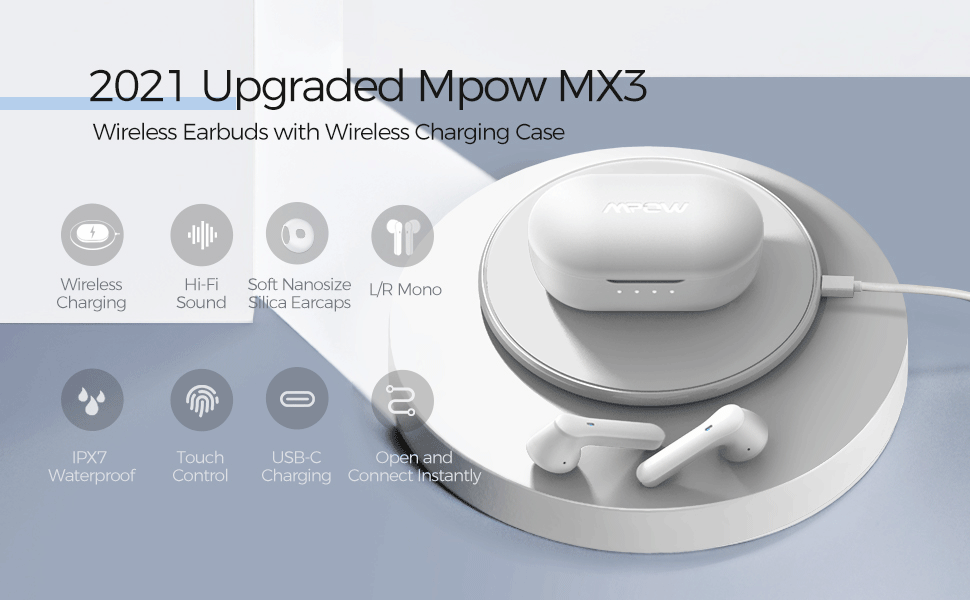 Bluetooth 5.0 Headphones w//Mic Mpow MX3 Bluetooth Earbuds in Ear w//Wireless Charging Case//USB-C Touch Control//25H//IPX7 for Sports//Work//3 Mode Wireless Earphones Hi-Fi Stereo Sound Wireless Earbuds