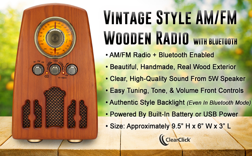 Vintage Style AM FM Wooden Radio with Bluetooth