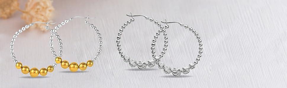 Sterling Silver Bead Diamond Cut Hoop Earring