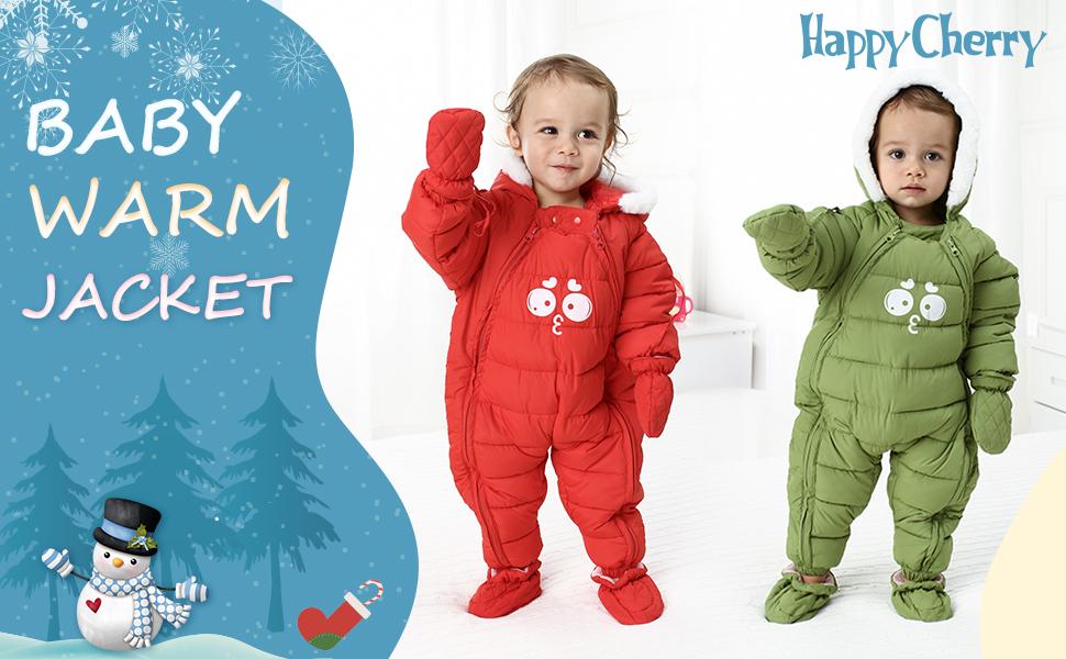 Happy Cherry Schneeoverall Baumwolle Kapuzen Strampler Boys Romper Jungen Jumpsuit Warmer Skianzug M/ädchen Schneeanzug Baby Onesie