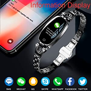 bluetooth watch information message reminder smart watch fitness tracker black rose gold watch women