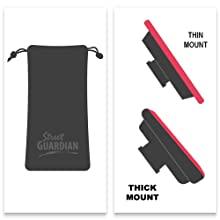 thick thin mount camera angle street guardian bag microfiber detachable black