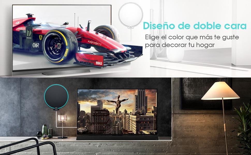 Biling Antena TV Interior- Antena TV portátil HD TV Digital con Amplificador de señal Inteligente para Canales de TV gratuitos Soporte 4K 1080 ...