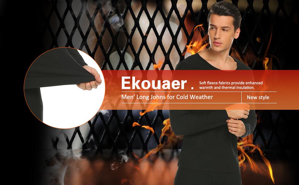 Ekouaer Men's Long Thermal Underwear Fleece Lined Winter Base Layering Set