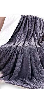 grey charcoal white throw blanket geometric pattern faux fur fleece sherpa soft warm winter gift