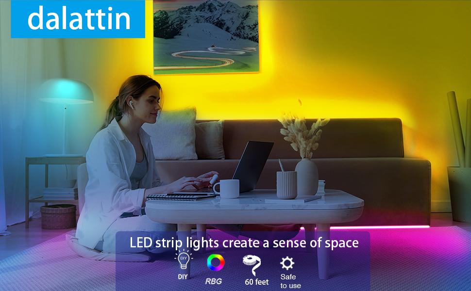 60ft Led Lights,dalattin Led Strip Lights for Bedroom Color Changing Lights with
