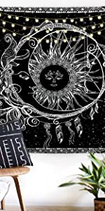 Moon and Sun Tapestry Dreamcatcher Tapestry Black and White Tapestry Psychedelic Bohemian