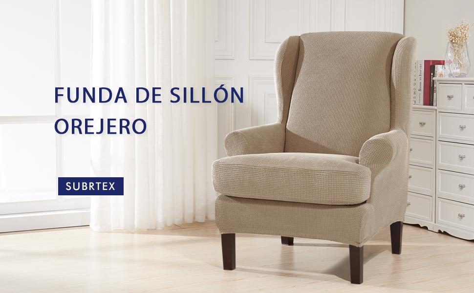 subrtex 2 Piezas Funda de Sillón Orejero Elástica Funda para Sillón 1 Plaza, Funda Cojín Independiente (Arena)