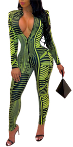 Sexy One Piece Outfits Geometric Deep V-Neck Long Sleeve Zipper Jumpsuit