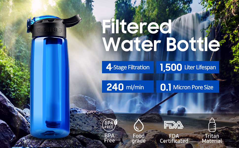 SimPure Water Filter Straw BPA Free Portable Water Purifier with 500ml Foldable Water Bottle Outdoor Survival Gear for Camping Hiking and Emergency