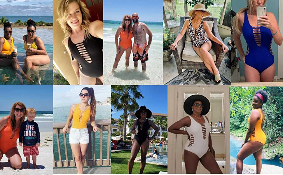 Women Sexy One Piece Swimsuits Plunge Deep V Neck Cutout Bathing Suits