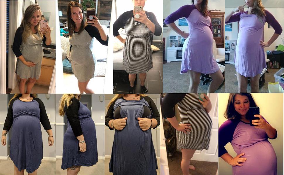 Women's Maternity Dress Nursing Nightgown for Breastfeeding