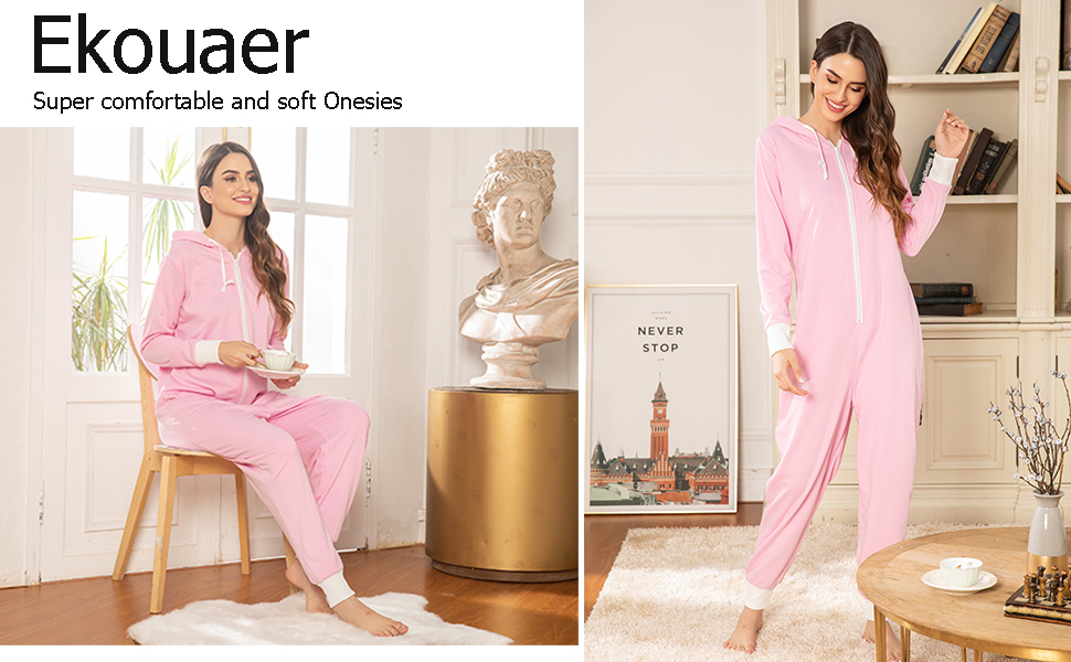 Ekouaer One Piece Pajamas Womens Long Sleeve Onesies Non Footed Union Suit with Hoodie S-XXL
