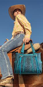 Montana West Tassel Handbag Concealed Carry Tote for Women Western Studs Shoulder Bag with Wallet