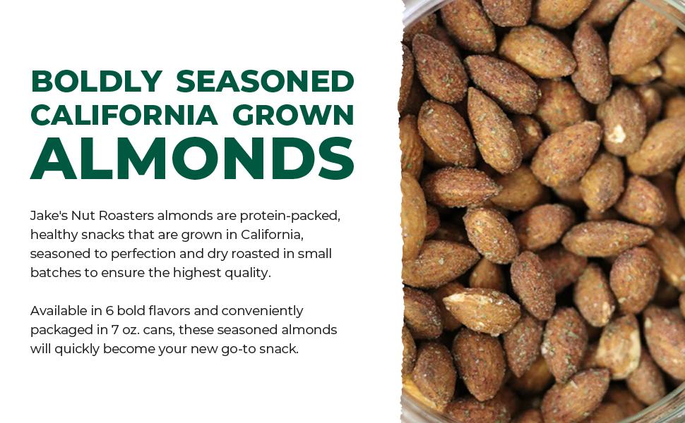 Seasoned, dry roasted, California-grown, whole almonds