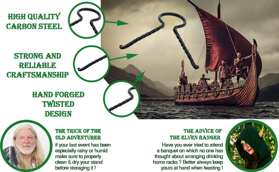 Viking driking horn rack stand