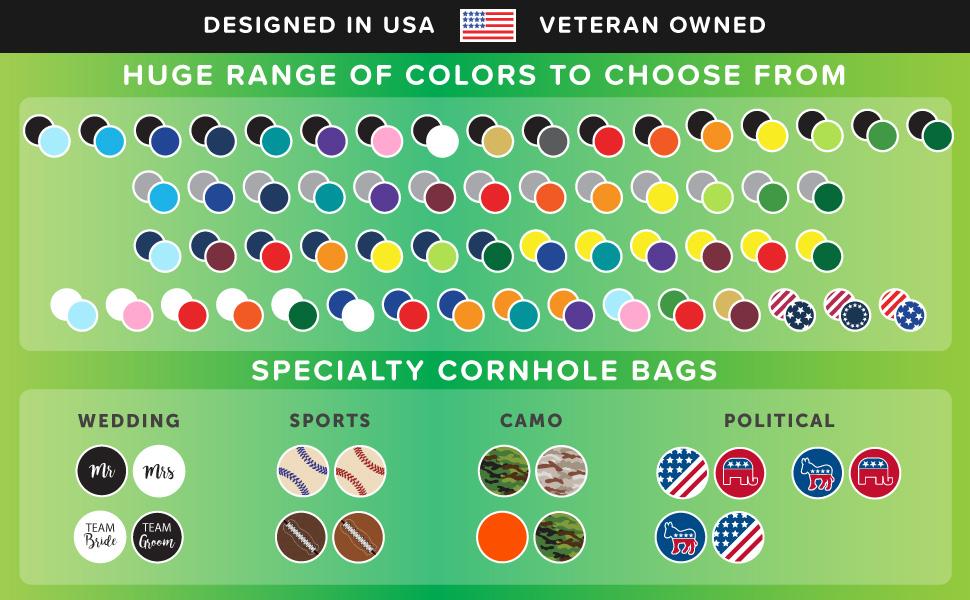 NEW Cornhole Bags Premium Weather Resistant set 8 Regulation Size Wedding Mr Mrs