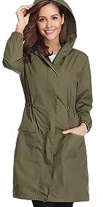 Abollria Giacca Donna Impermeabile Cappotto Casual