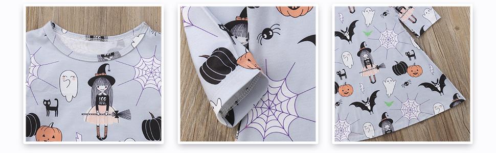 ghost spider net pumpkin print girl dress halloween clothes