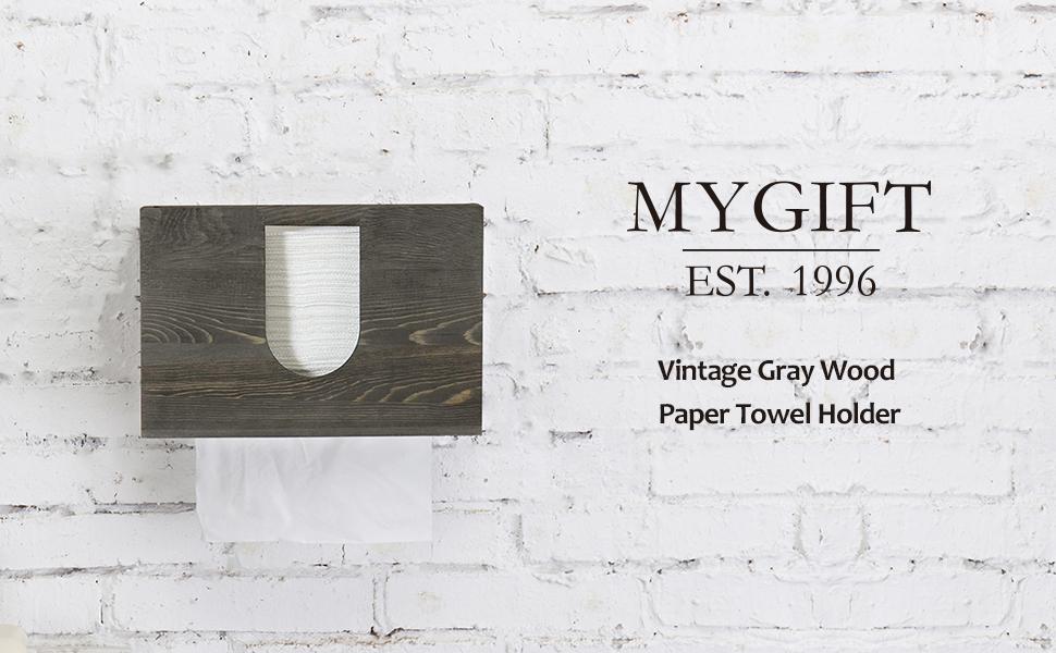 MyGift Vintage Grey Wood Wall Mounted Bathroom Paper Towel Dispenser