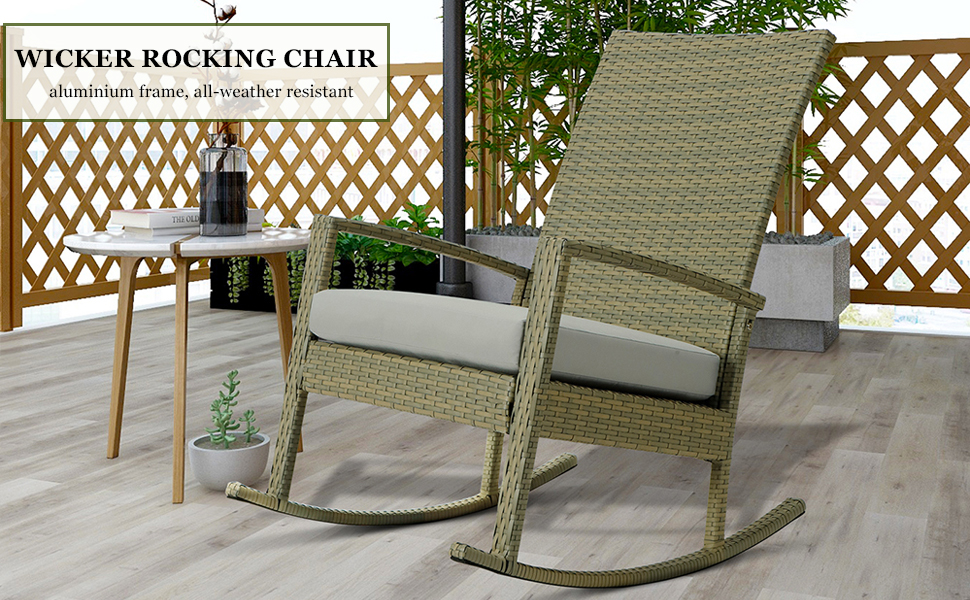 wicker rocking chair with cushion