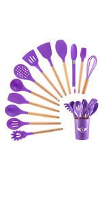cooking utensils with holder
