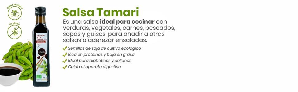 Naturitas Salsa de Soja Tamari sin gluten Bio   250ml   Perfecta para regular la dieta de los vegetarianos y veganos, debido a su riqueza en proteínas ...