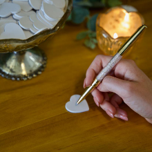 writing on heart for guestbook