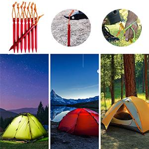 EZYoutdoor 40PCS Aluminum Alloy Guyline Cord Adjuster 6PCS Tent Stakes Included Tent Tensioners Rope Adjuster Guyline Wind Rope Buckle Cord Adjuster for Tent Rope Buckle Tent Canopy Rope Accessories