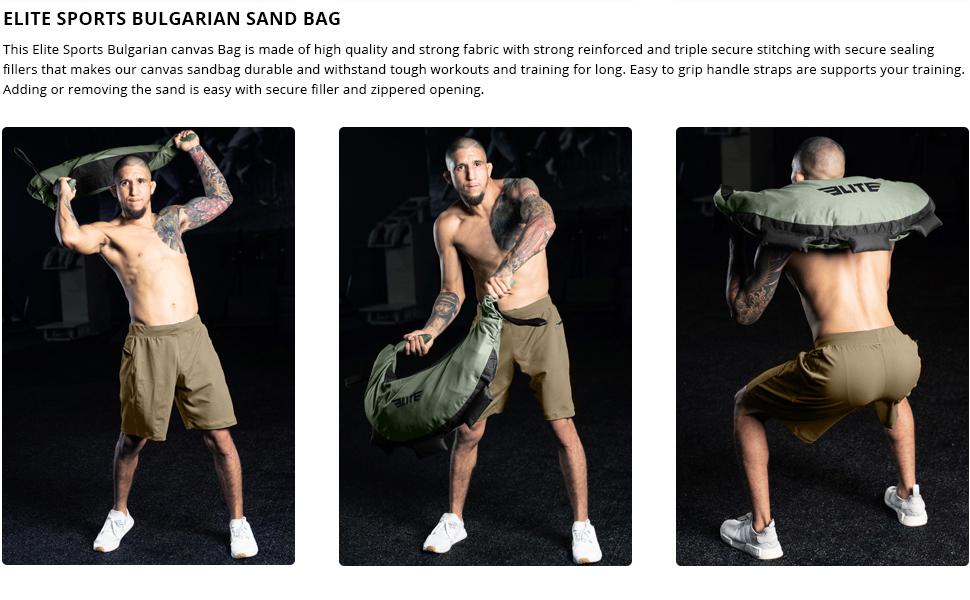 Bulgarian Canvas Bag for CrossFit, Elite Sports Fitness Canvas MMA Gym Cross Training Sandbag