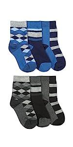 Jefferies Socks Boys Pattern Argyle Stripe Crew Socks 6 Pair Pack