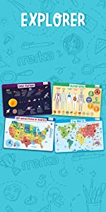 Educational Placemats Solar System Human Body World Map USA Map