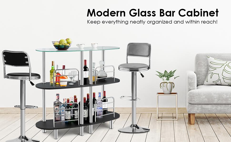 3-Tier Glass Liquor Bar Cabinets