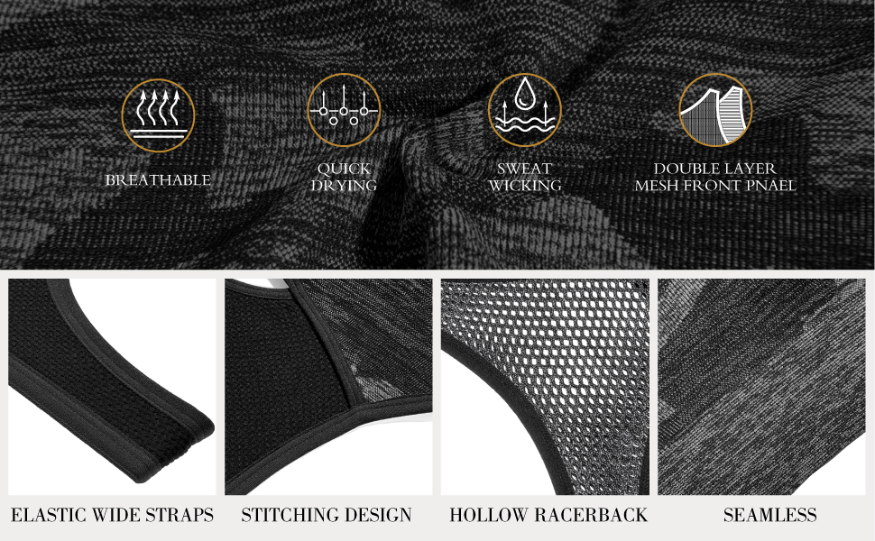 elastic wide straps stitching design hollow reacerback seamless