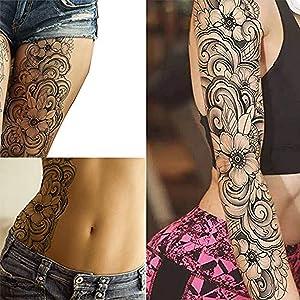 Full arm stick on body art halloween temporary tattoo flower