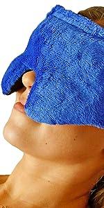 blue huggaroo eye mask with aromatherapy