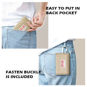 rough enough small canvas wallet with carabiner in compact size easy to fit jeans front back pocket