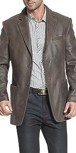 BGSD Men's Eric 2-Button Distressed Leather Blazer Cowhide Sport Coat Jacket