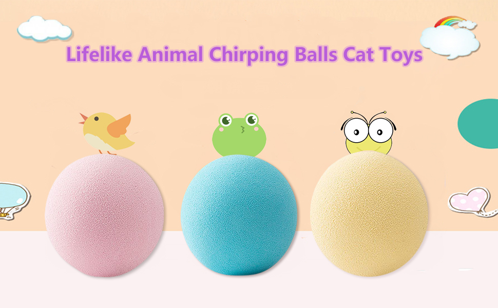3 Pack Realistic Animals Chirping Balls Cat Toys