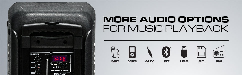 multiple connections, mp3, aux, usb, fm radio, mic
