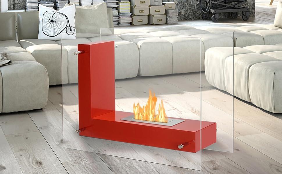 Vitrum L - Ventless Portable Freestanding Ethanol Fireplace