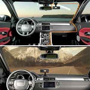 ドライブレコーダー 簡単取り付け 前後カメラ 車内 車外 同時録画