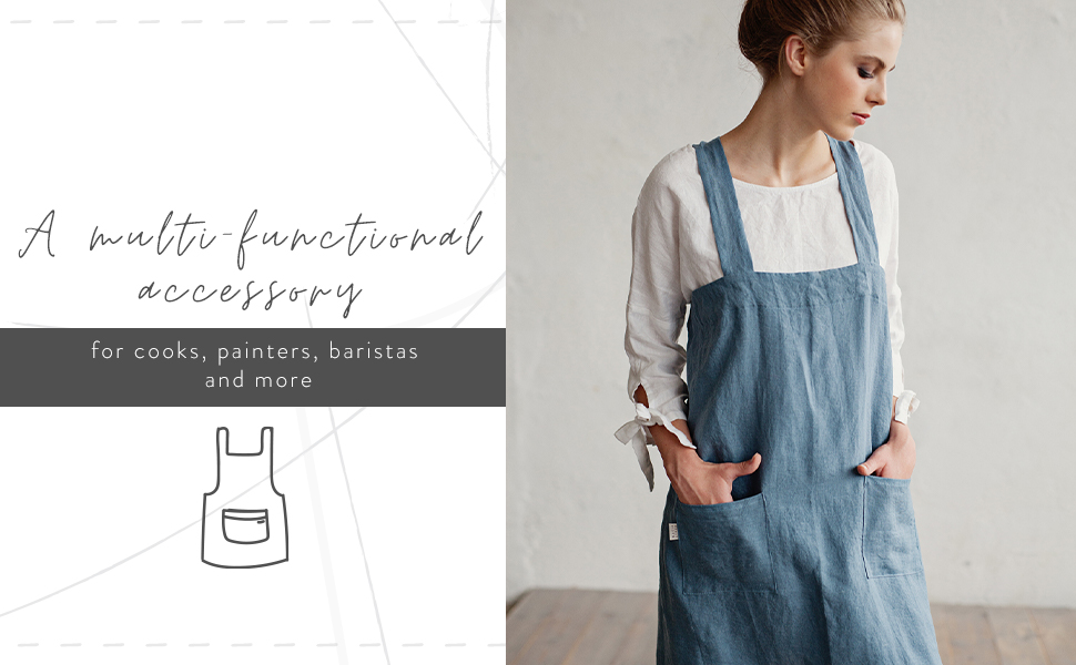 MagicLinen 100% Linen Apron for Cooking, Gardening, Grilling, Painting - Perfect for Women and Men