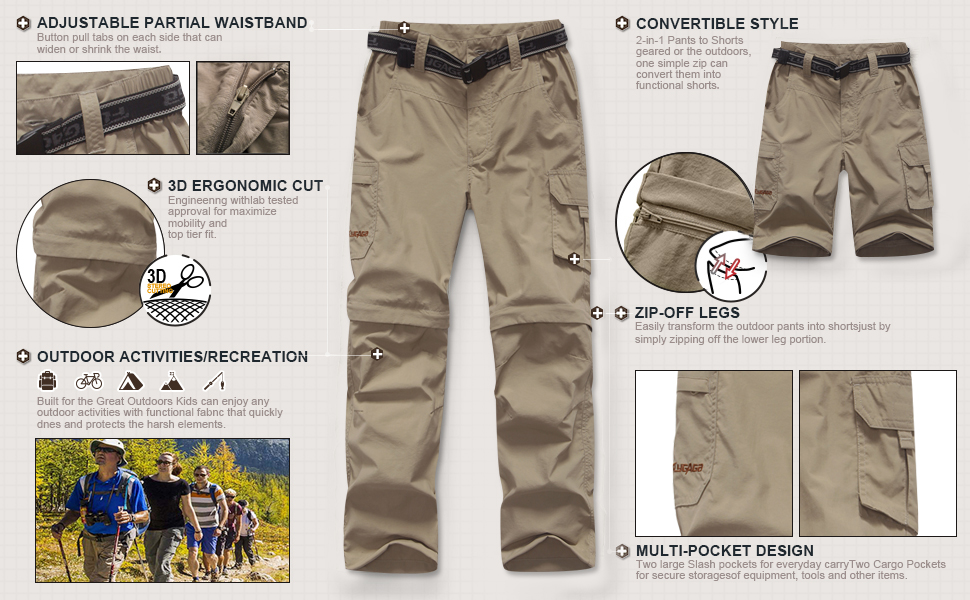 Mens Outdoor Hiking Convertible Quick Dry Pants Elastic Waist Casual Lightweight Fishing Shorts