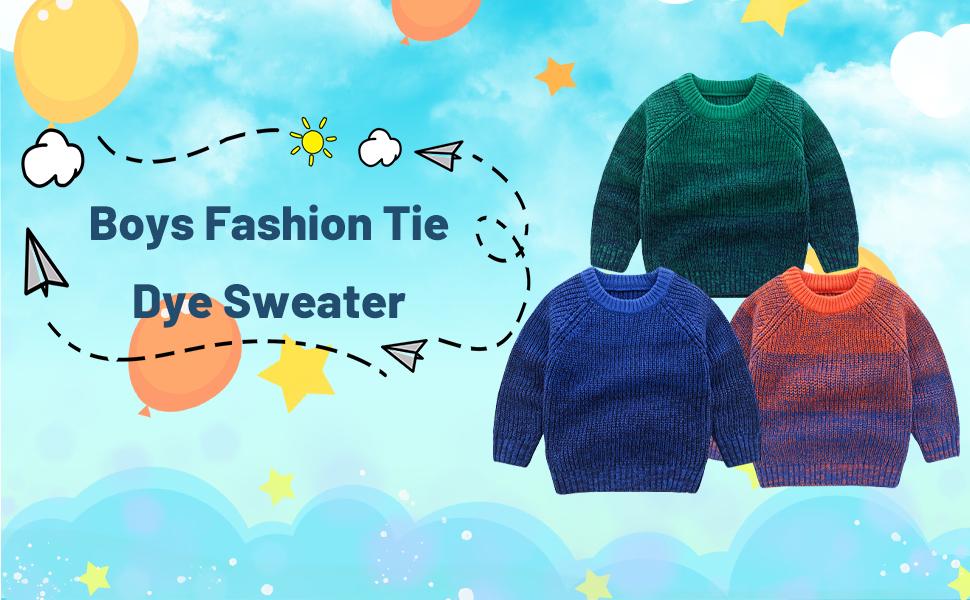 Mud Kingdom Little Boys Fashion Tie Dye Sweater Pullover Ribbed Knit