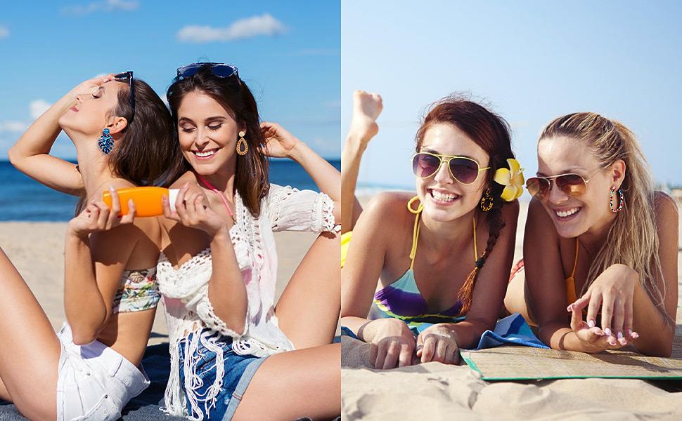 FIFATA 20 Pairs Rattan Drop Dangle Earrings Mottled Acrylic Resin Hoop Fashion Summer Jewelry