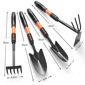 Gardening Tools - Set of 4 Hand Rake Hand Shovel & Garden Trowe
