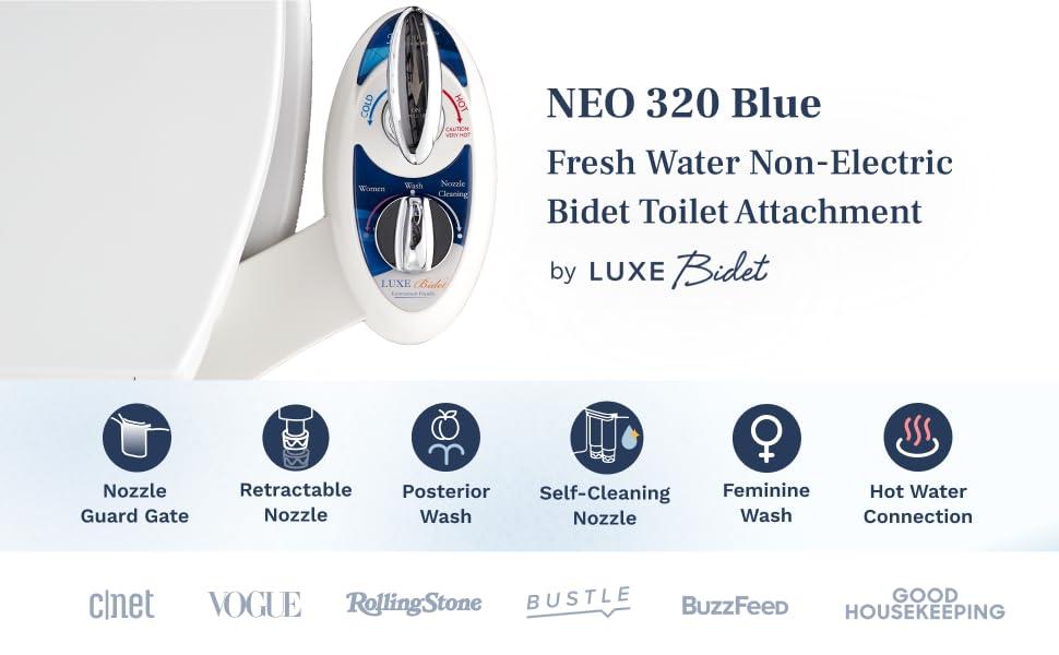 NEO 320 Blue - Fresh water non-electric bidet toilet attachment by LUXE Bidet