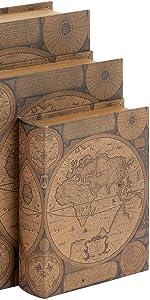 Book Shelf Holder Stoppers Hidden Secret Storage Box Set 2 Wood 8 inch